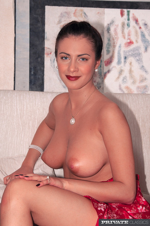 Hot babe with fine tits wearing floral d - XXX Dessert - Picture 1