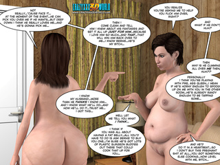 Two naked cartoon fat MILFs quarrelling in the - Picture 4