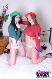 two geek girls colorful