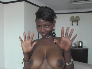 Ebony babes posing in hot outfits while some gets fucked between her huge boobs before getting cumsplattered and others gets doggy fucked on a white bed with brown and green designs. - XXXonXXX - Pic 2