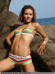 fun dame striped bikini