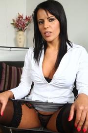 lustful brunette showing off