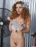 Curly redhead in gray and pink underwear strips them off piece by piece