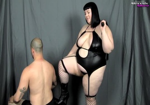 Bondage fattie wearing black lingerie, f - XXX Dessert - Picture 1