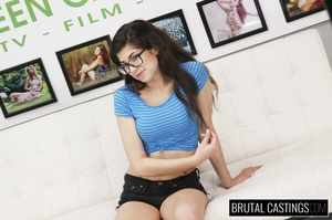 Teen brunette with glasses peels off her - XXX Dessert - Picture 1