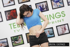 Teen brunette with glasses peels off her - XXX Dessert - Picture 2