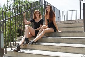 Two brunette teen dolls in black short d - XXX Dessert - Picture 1