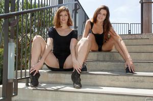 Two brunette teen dolls in black short d - XXX Dessert - Picture 2