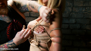 Naked blonde gets her body bound with ro - XXX Dessert - Picture 10