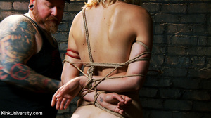 Naked blonde gets her body bound with ro - XXX Dessert - Picture 15