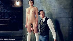 Brunette in white socks gets tied with r - XXX Dessert - Picture 2