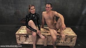 Rubber clad dom works on a naked guys ju - XXX Dessert - Picture 2