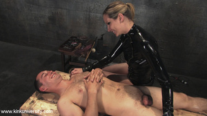 Rubber clad dom works on a naked guys ju - XXX Dessert - Picture 6