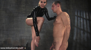 Rubber clad dom works on a naked guys ju - XXX Dessert - Picture 8