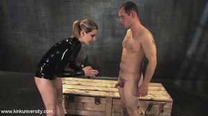 Rubber clad dom works on a naked guys ju - XXX Dessert - Picture 9