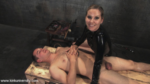 Rubber clad dom works on a naked guys ju - XXX Dessert - Picture 11