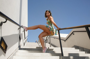 Arousing brunette teeny in a floral dres - XXX Dessert - Picture 3