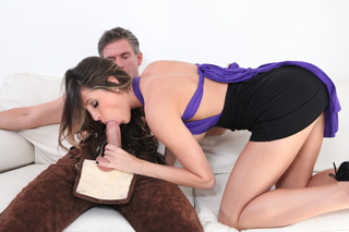 excitingly shaped brunette blowjob