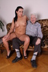 Old man licking young pussy and sucking brunette's toes