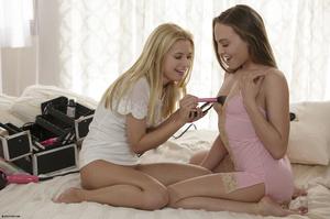 Dark-haired teen chick fingering her blo - XXX Dessert - Picture 1