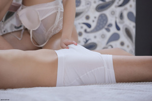 Brunette freshie in a white lace body an - XXX Dessert - Picture 3