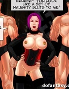 Purple-haired mistress with rings in her nipples and her bald assistants