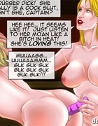 Blonde toon slaves forced lezzing and toying each other while red one
