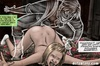 Bound and suspended on chains blonde girl in red thong poked by a ghost