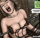 Blonde and brunette toon girls gagged and kept in bondage devices tortured
