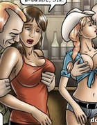 Toon cowgirl in a hat and her brunette friend accidentally become sluts
