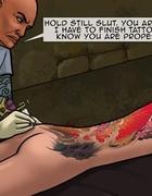 Tattoo master markig blindfolded and bound slave while two lads handling