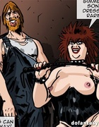 Fat toon mistress in black latex torturing enslaved girls and two red