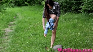 Sexy girl takes off jeans and pees on the lonely stone - XXXonXXX - Pic 2