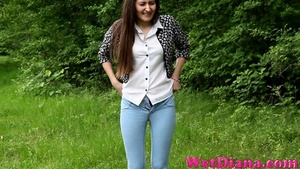 Sexy girl takes off jeans and pees on the lonely stone - XXXonXXX - Pic 4