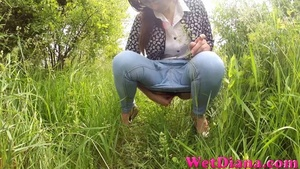 Drinking beer provokes hottie to pee on the green grass - XXXonXXX - Pic 3