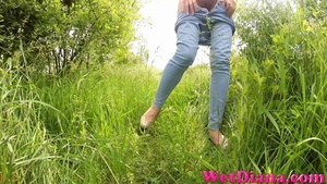 Drinking beer provokes hottie to pee on the green grass - XXXonXXX - Pic 4