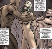 Suspended brunette tortured with a stun gun and blondie titfucked. Vendetta