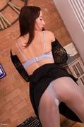 black, individual model, pantyhose