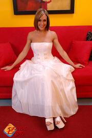 naughty blonde bride raises