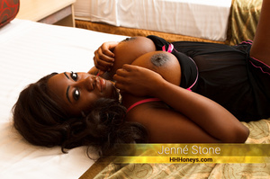 Hot ebony bends over on a black couch an - XXX Dessert - Picture 3
