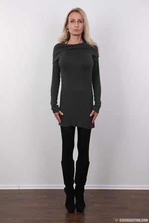 Elegant girlie in a grey top, black pant - XXX Dessert - Picture 2