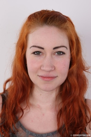 Excellent red-haired lady in a grey shir - XXX Dessert - Picture 1