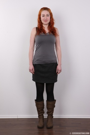 Excellent red-haired lady in a grey shir - XXX Dessert - Picture 2