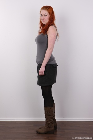 Excellent red-haired lady in a grey shir - XXX Dessert - Picture 3