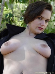 busty chick takes off