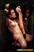 chained, lesbian, redhead, strapon
