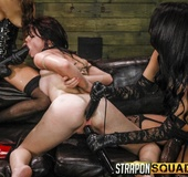 Hardcore lesbian threesome with BDSM elements and strapons