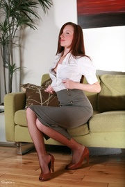 brunette business-lady takes off