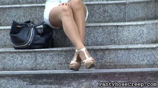 blonde, pantyhose, public, tease