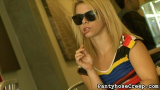 blonde, pantyhose, restaurant, rubbing